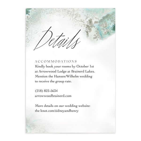 Painted Ethereal Wedding Enclosure Card front green