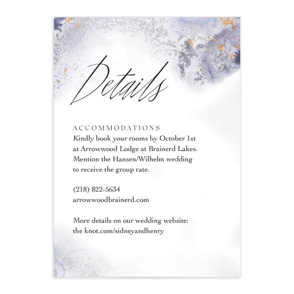 Painted Ethereal Wedding Enclosure Card front purple