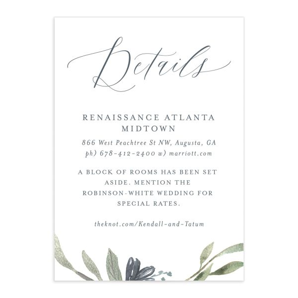 Muted Floral Wedding Enclosure Card front blue