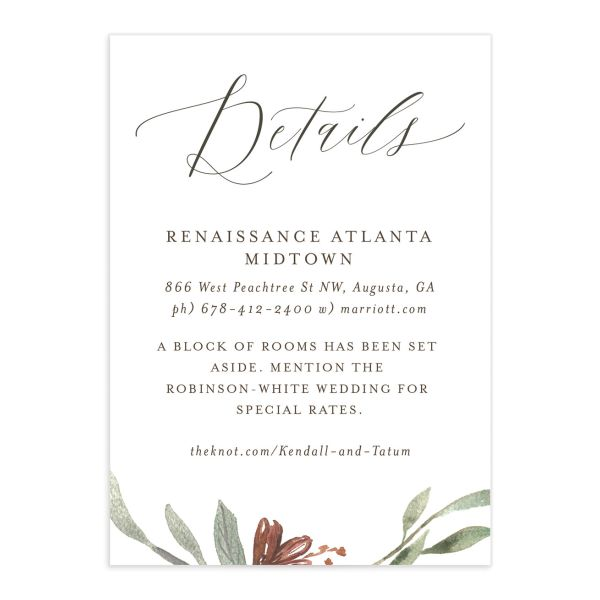 Muted Floral Wedding Enclosure Card front copper