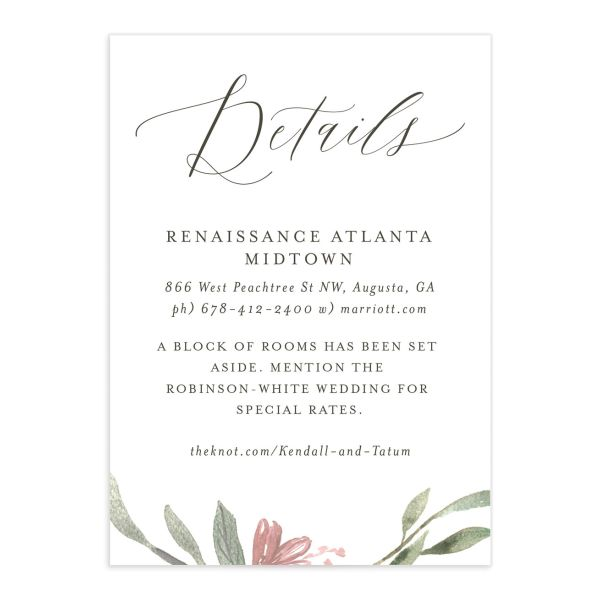 Muted Floral Wedding Enclosure Card front pink