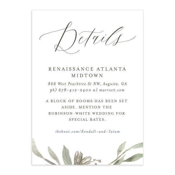 Muted Floral Wedding Enclosure Card front white