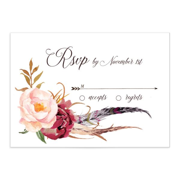 Bohemian Floral Wedding Response Card front burgundy
