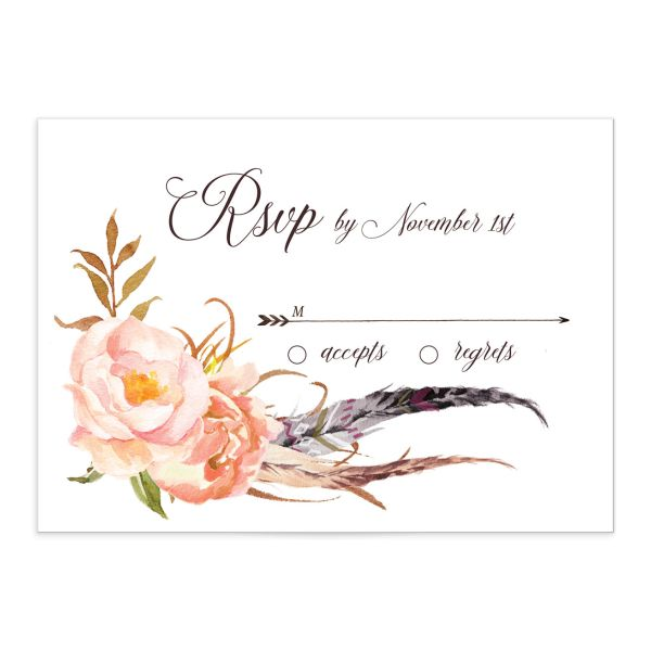 Bohemian Floral Wedding Response Card front peach