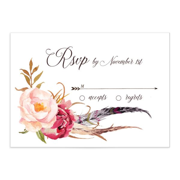 Bohemian Floral Wedding Response Card front pink