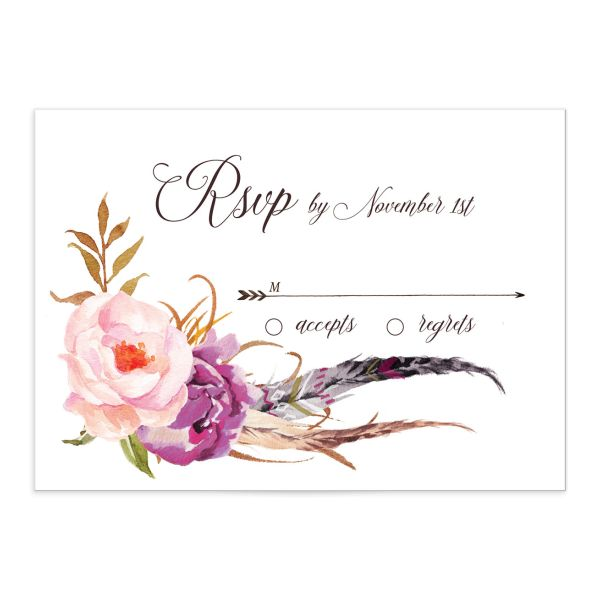 Bohemian Floral Wedding Response Card front purple