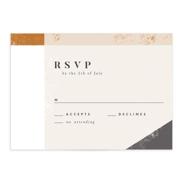 Modern Colorblock RSVP card front grey