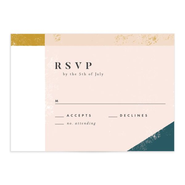 Modern Colorblock RSVP card front teal