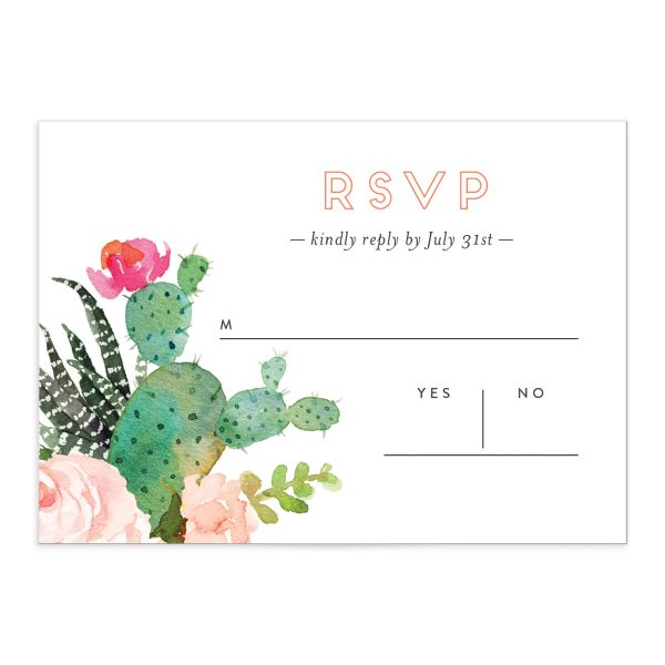 Watercolor Cactus RSVP card front