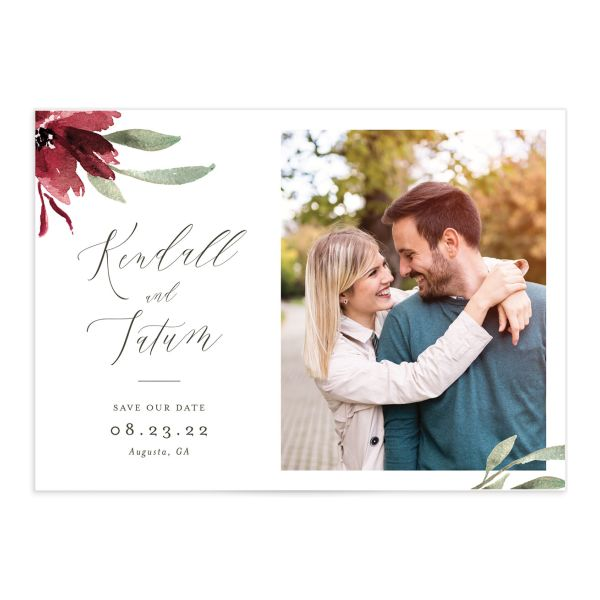 Muted Floral Wedding Save the Date Card front berry