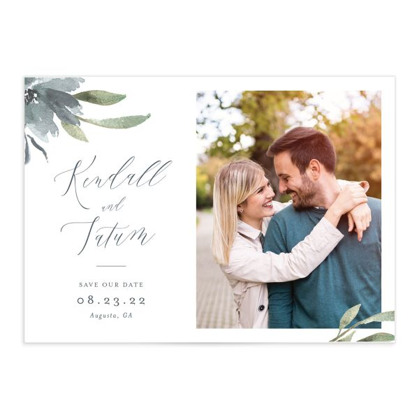 Muted Floral Wedding Save the Date Card front blue