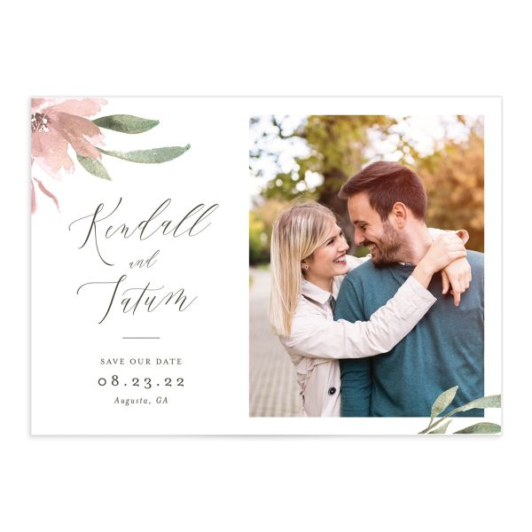 Muted Floral Wedding Save the Date Card front pink