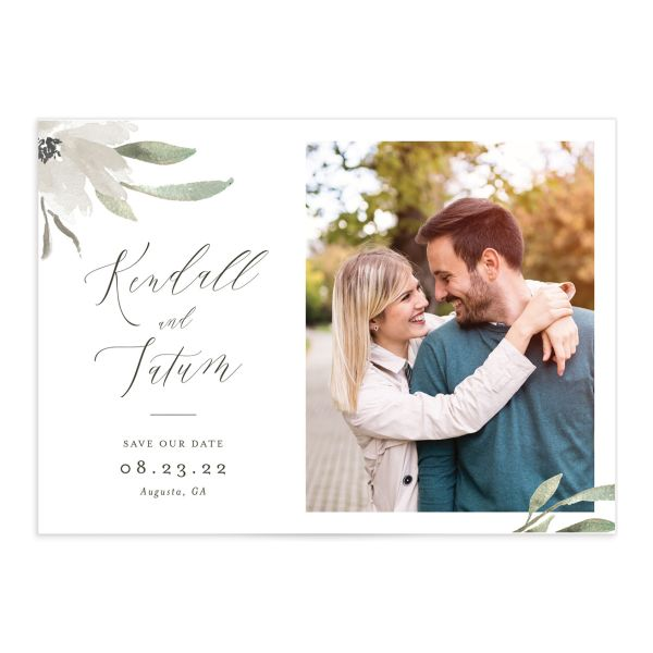 Muted Floral Wedding Save the Date Card front white