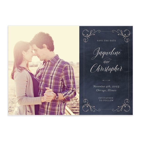Vintage Luxe Save the Date Front Blue