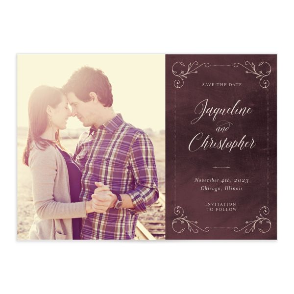 Vintage Luxe Save the Date Front Red