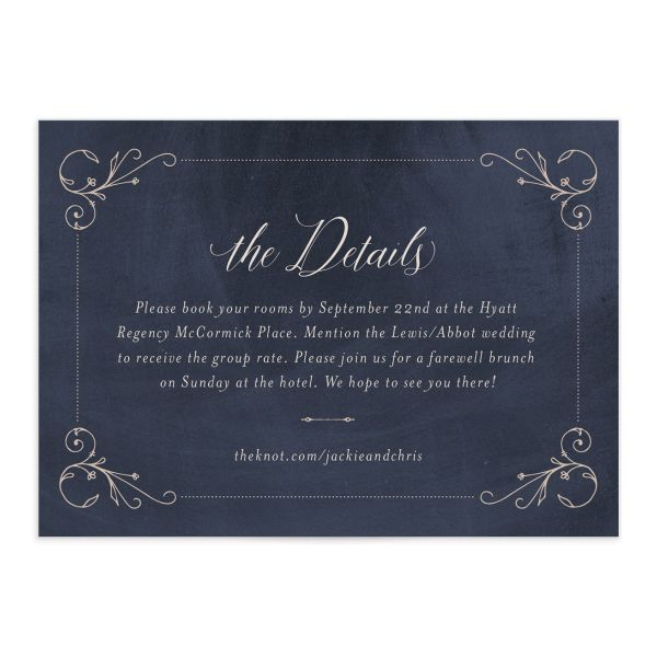 Vintage Luxe Wedding Enclosure Card Front Blue