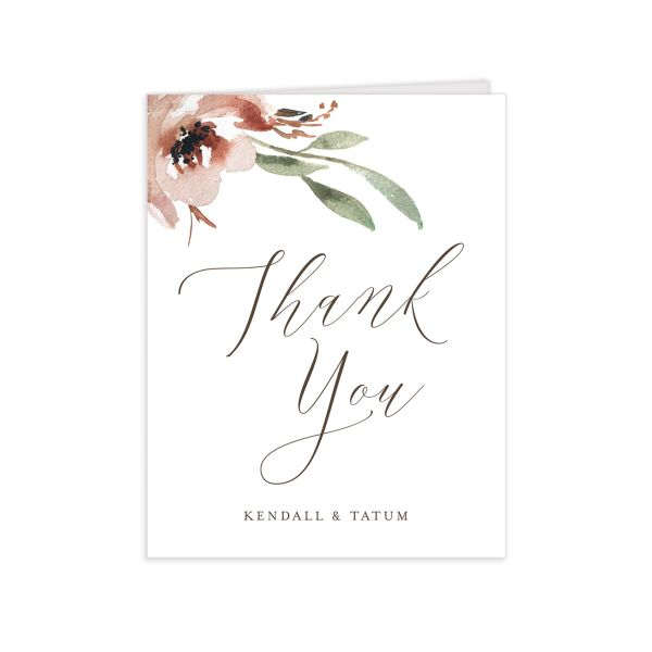Muted Floral Wedding Thank You card front copper