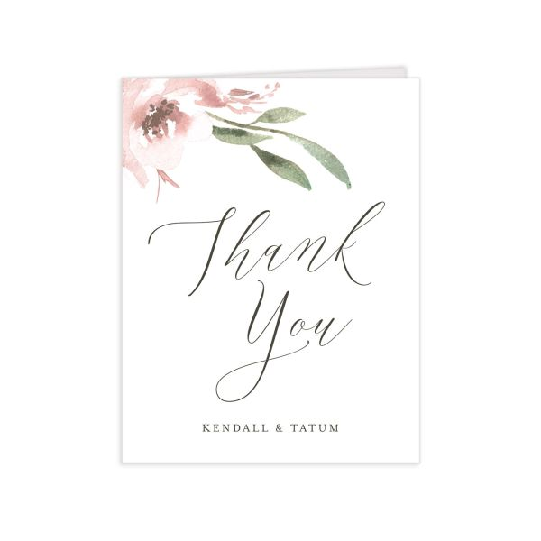 Muted Floral Wedding Thank You card front pink