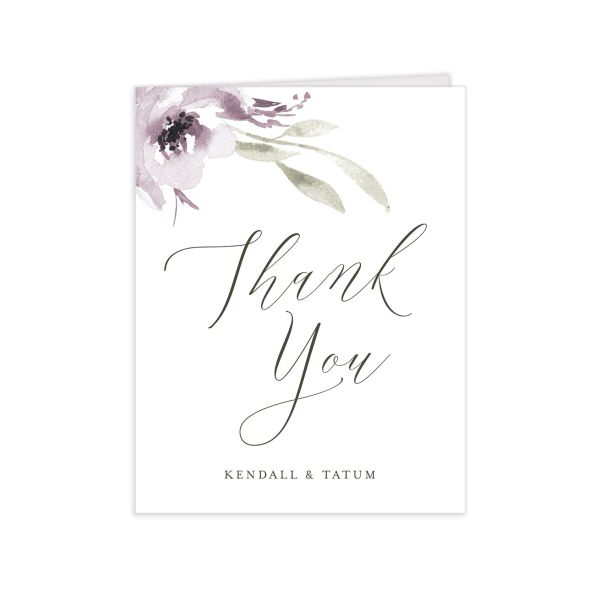 Muted Floral Wedding Thank You card front purple