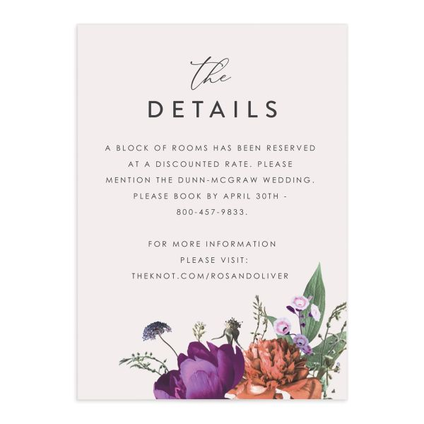 Blooming Botanical wedding details card front purple