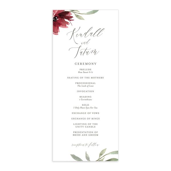 Muted Floral Wedding Program front berry