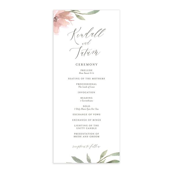 Muted Floral Wedding Program front pink