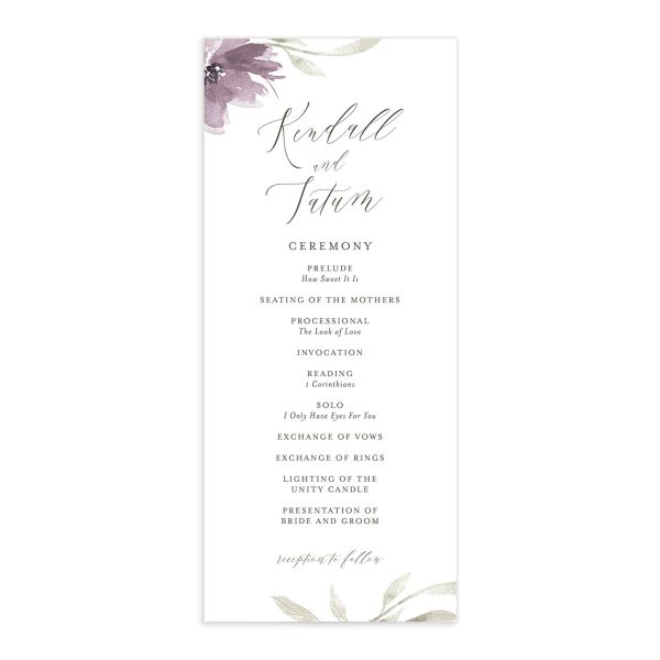 Muted Floral Wedding Program front purple