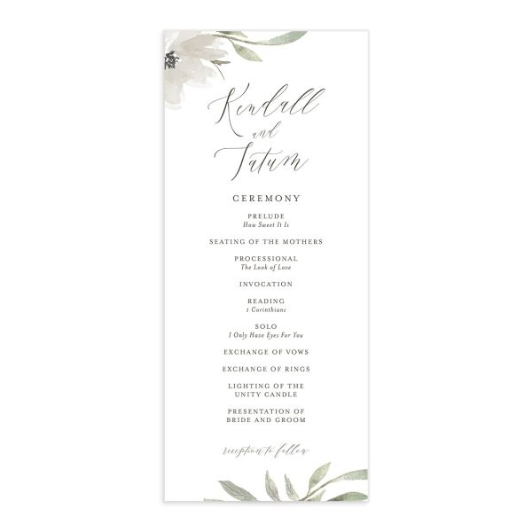 Muted Floral Wedding Program front white