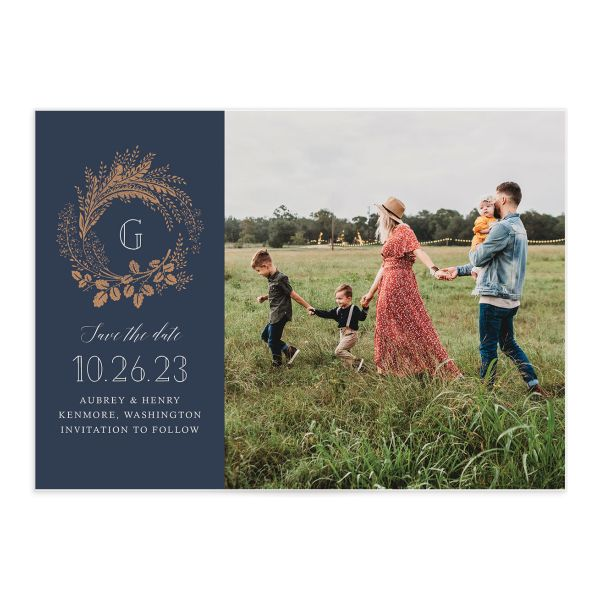 Woodsy Wreath save the date with photo front blue