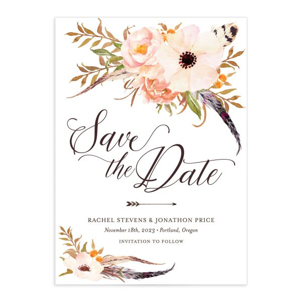 Bohemian Floral Save the Date card front peach