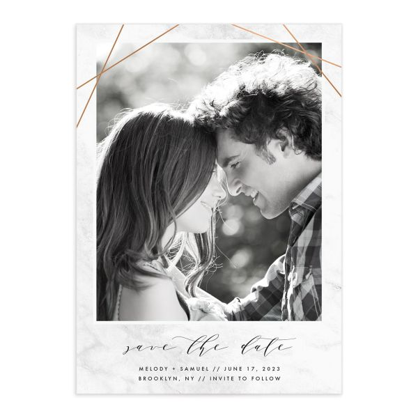 Geometric Marble Wedding Save the Date front
