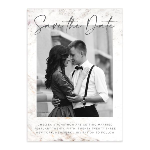 Mod Marble Save the Date Card front