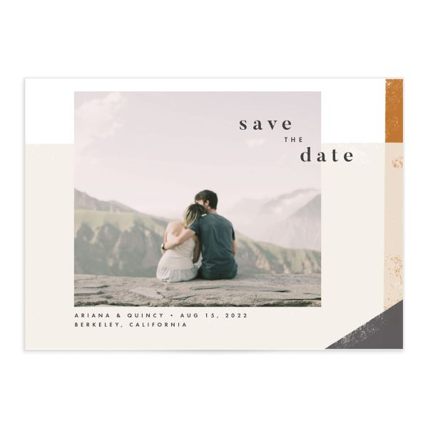 Modern Colorblock save the date card front grey