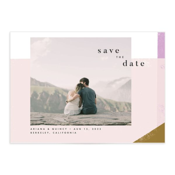 Modern Colorblock save the date card front pink