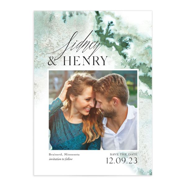 Painted Ethereal Wedding Save the Date front green