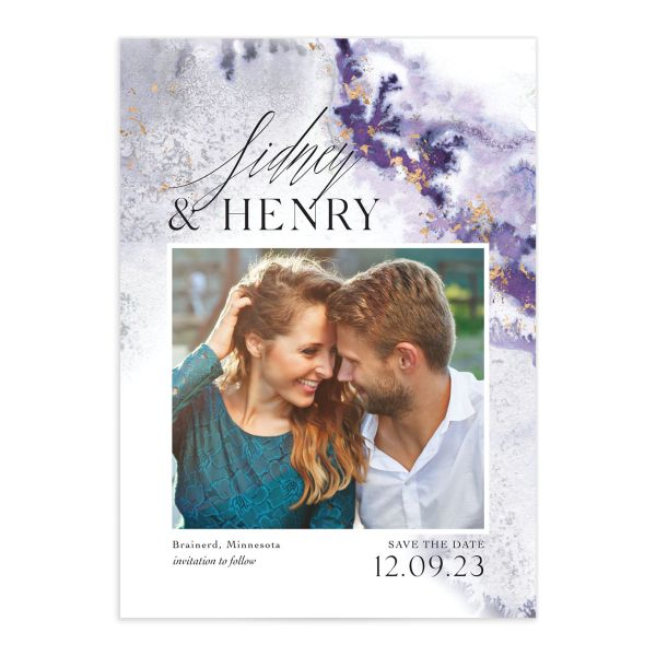 Painted Ethereal Wedding Save the Date front purple