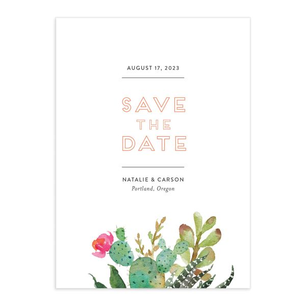 Watercolor Cactus save the date card front