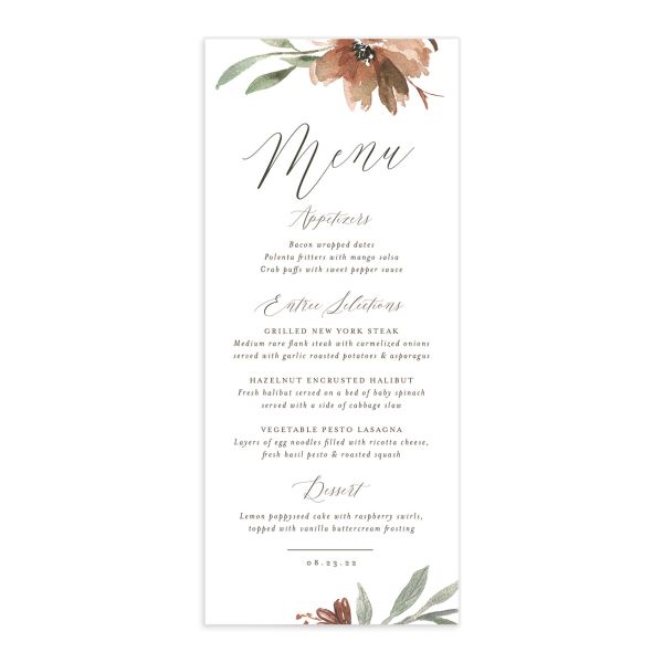 Muted Floral Wedding Menu Card front copper