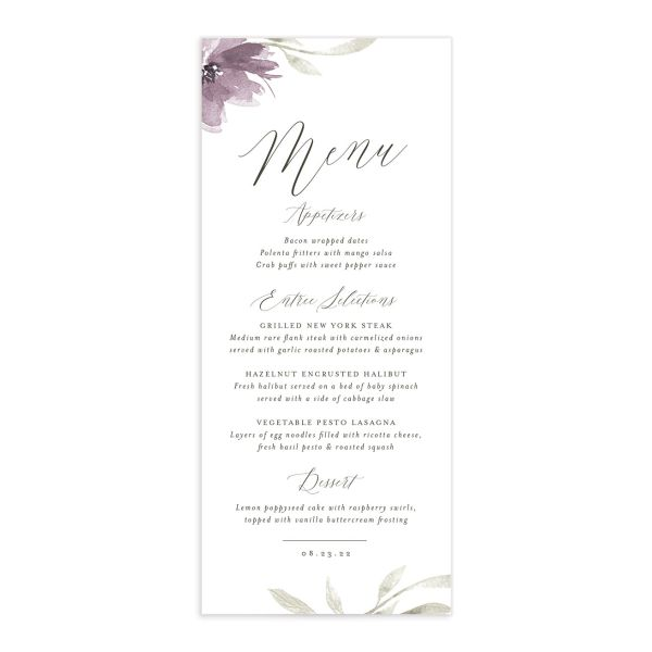 Muted Floral Wedding Menu Card front purple
