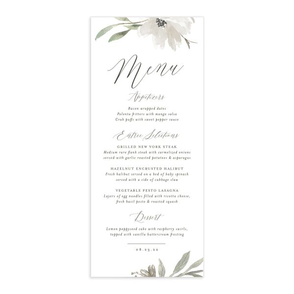 Muted Floral Wedding Menu Card front white