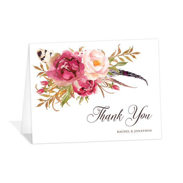 Bohemian Floral Thank You Card front pink