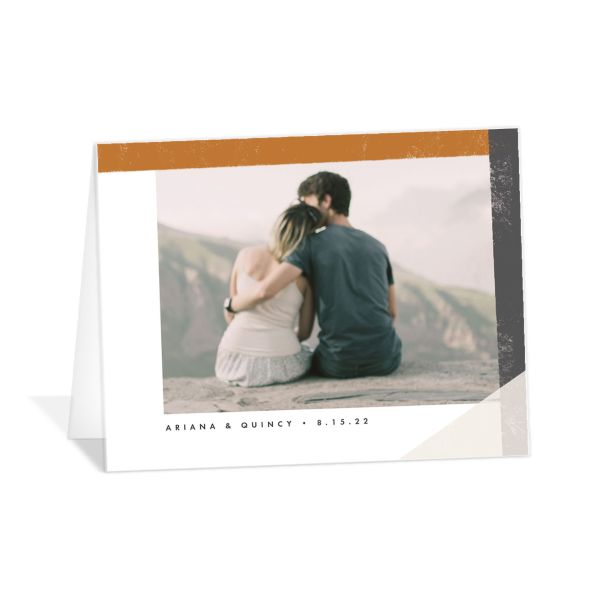 Modern Colorblock thank you card front grey