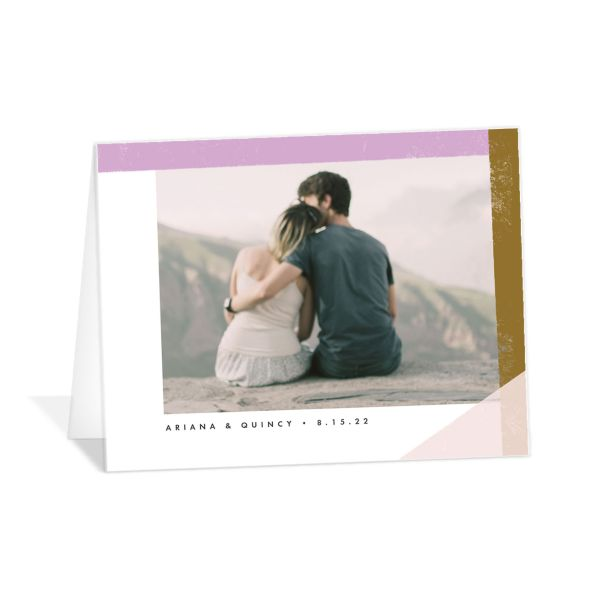 Modern Colorblock thank you card front pink