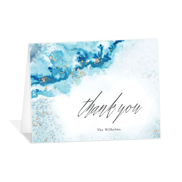 Painted Ethereal Thank You Card front blue
