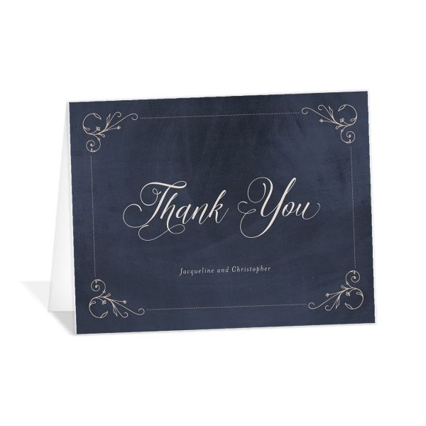 Vintage Luxe Thank You Card Front Blue