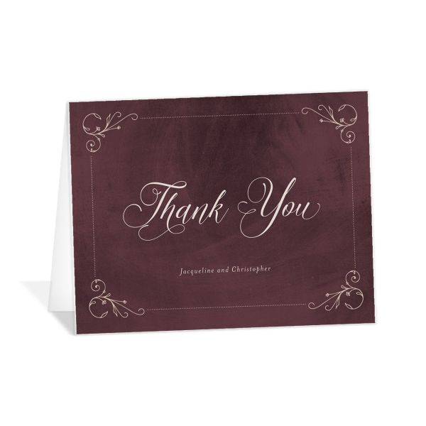 Vintage Luxe Thank You Card Front Red