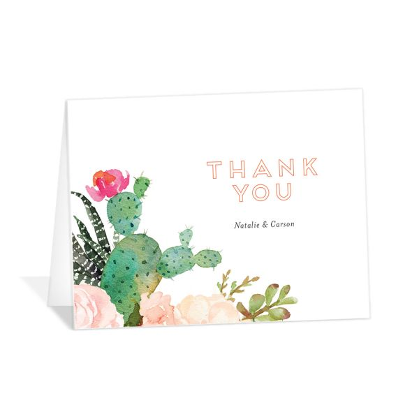 Watercolor Cactus thank you card front