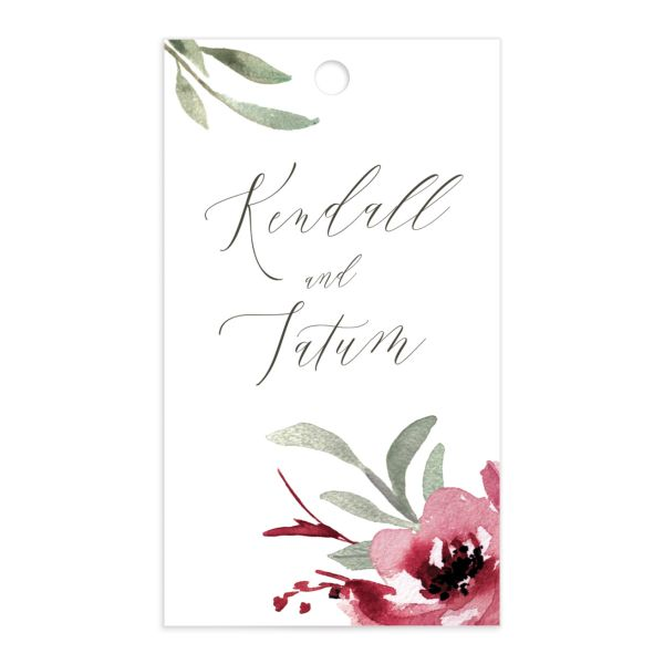 Muted Floral Wedding Gift Tag front berry