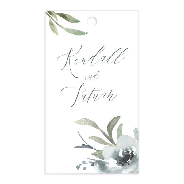Muted Floral Wedding Gift Tag front blue