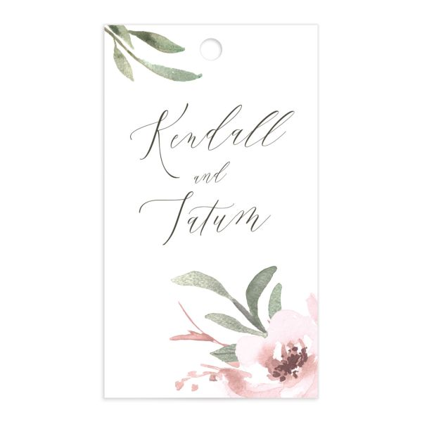 Muted Floral Wedding Gift Tag front pink